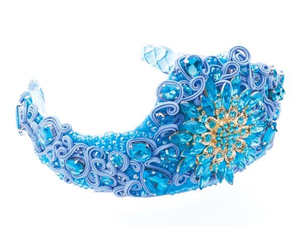 Диадема-корона голубая с сутажем и стразами