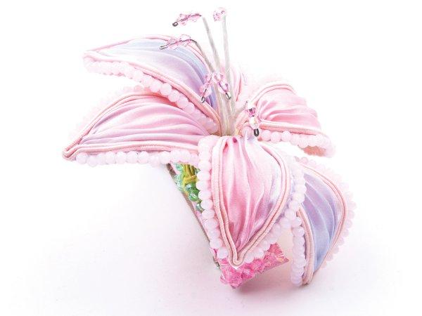 Заколка-автомат Большая розовая лилия