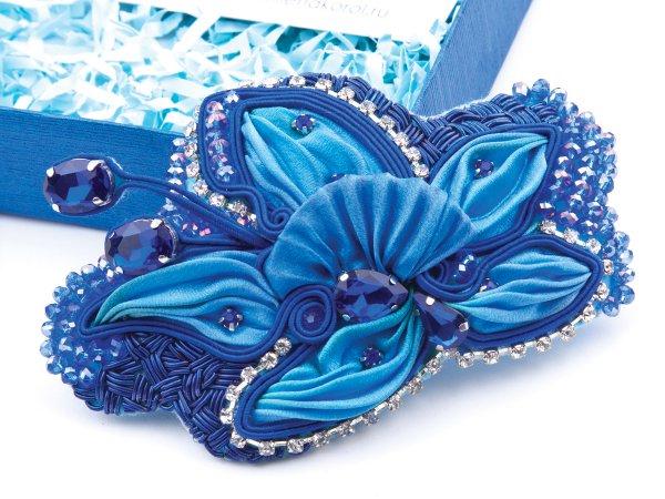 Заколка-автомат синий цветок