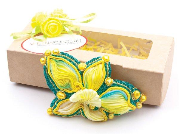 Заколка-автомат желтая орхидея из ленты шибори с жемчугом