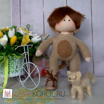 Кукла ребенок с котёнком